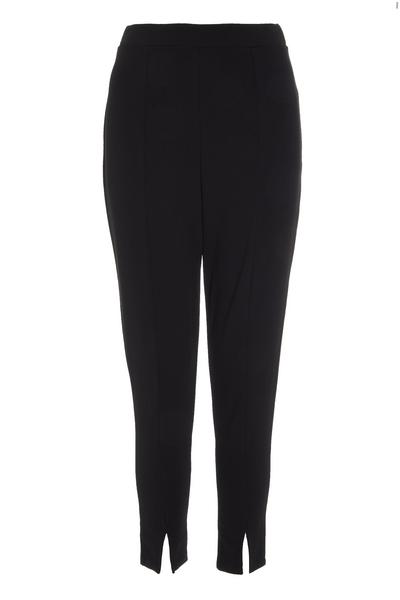 Petite Black Split Hem Trousers
